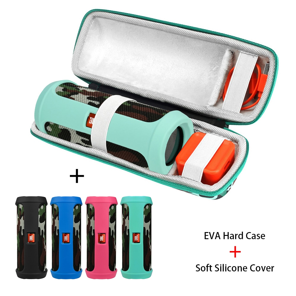 Bolsa de almacenamiento portátil dura 2 en 1 camuflaje EVA + funda de silicona suave para JBL Flip 4 Altavoz Bluetooth funda para JBL Flip 4 columna
