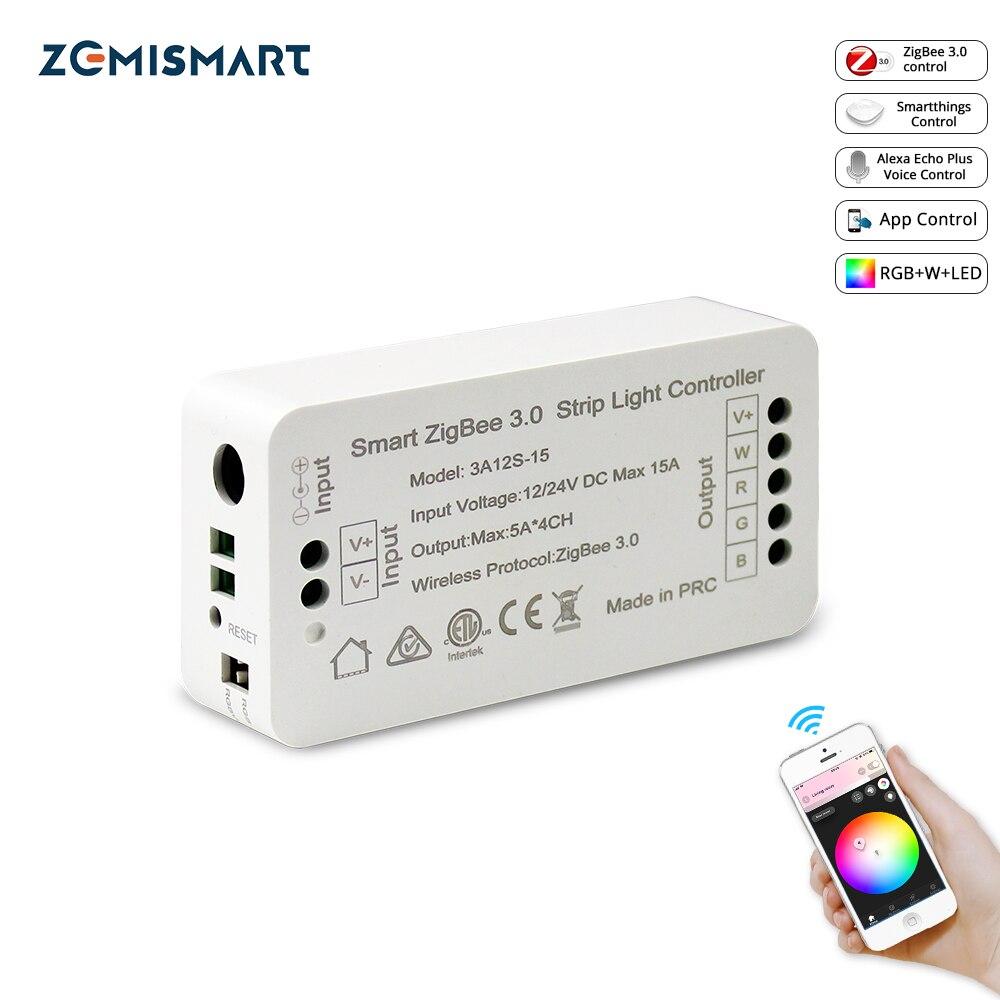 Controlador de tira de luz inteligente Zigbee 3,0 RGB RGBW controlador de tira LED DC12V APP Control Compatible con Smartthings