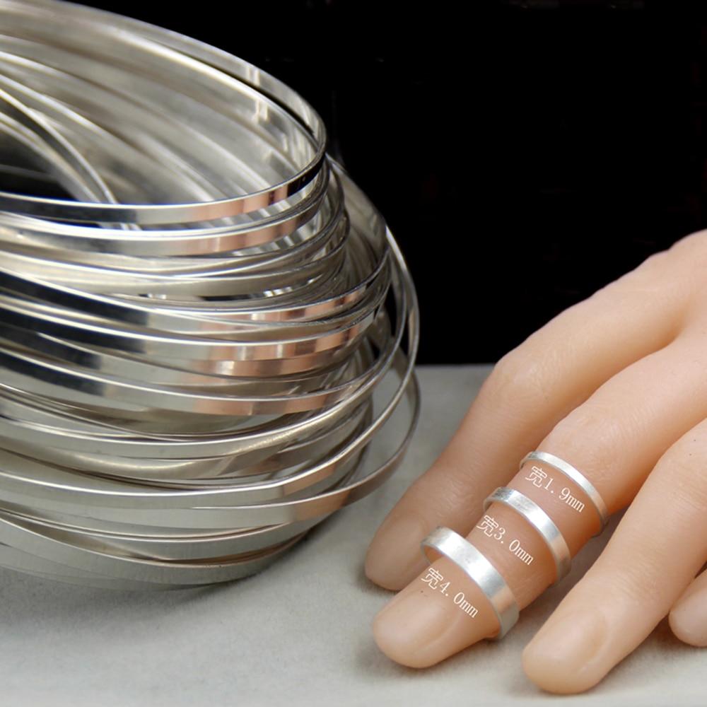 S999 plata completa pieza de plata pura incrustada DIY joyería hecha a mano anillo Material brazalete plata hoja ancho 1,9mm 3mm 4mm 4,7mm