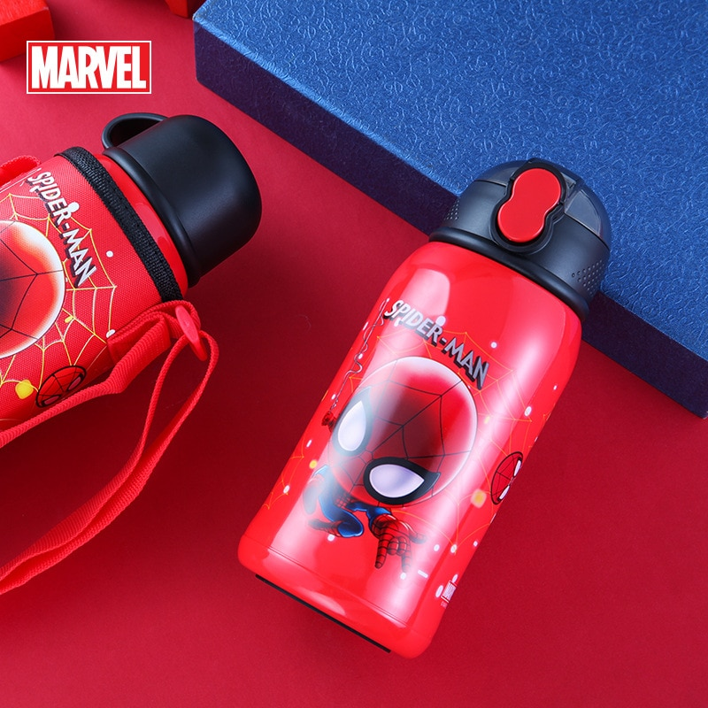 Original Disney water bottle children's dual-use double-lid straw cup baby stainless steel vacuum flask water bottle 3202