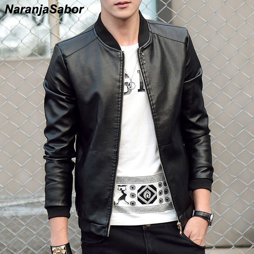 NaranjaSabor 2020 New Men's leather Jacket PU Fashion Spring Autumn Jackets Faux Leather Slim Fit Male Motorcycle Coats N559