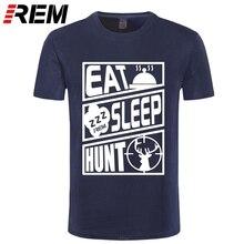 T-Shirt unisexe Kurzarm manger sommeil chasse Jagd essen schlafen Hirsch