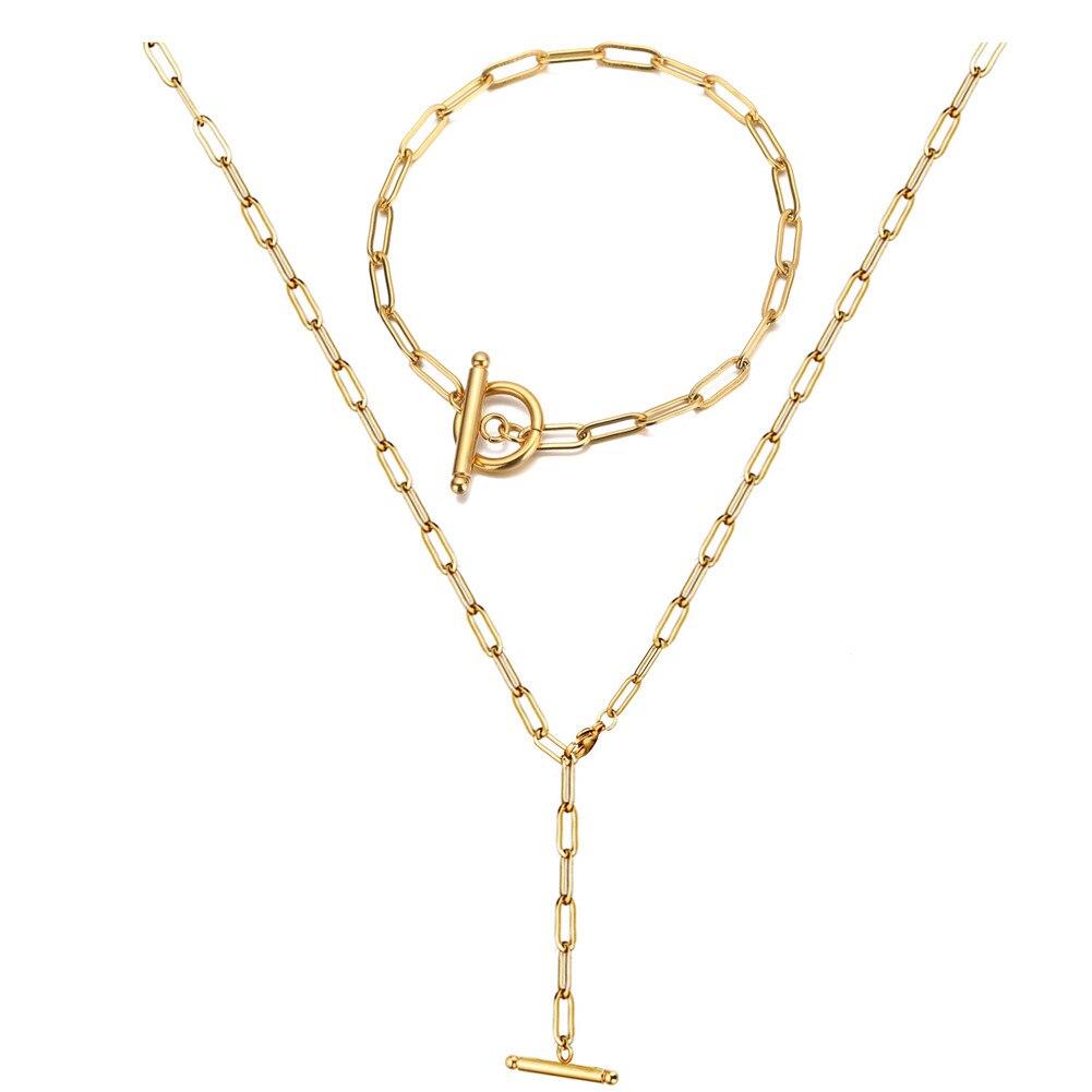 Moda Acero inoxidable Color dorado plata OT hebilla cadena cuadrada pulsera collar juegos de joyas para mujer Regalos de Año Nuevo