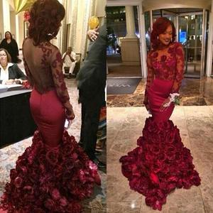 red prom dress 2020 backless mermaid hand made flowers long sleeve lace burgundy evening dresses gwons