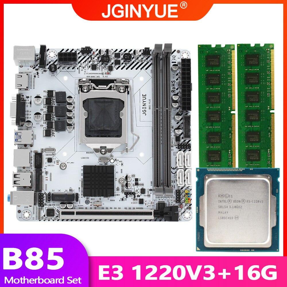 B85 اللوحة LGA 1150 مجموعة عدة مع إنتل زيون E3 1220 V3 CPU المعالج 16GB(2*8GB) DDR3 RAM الذاكرة M.2 NVME B85I-PLUS