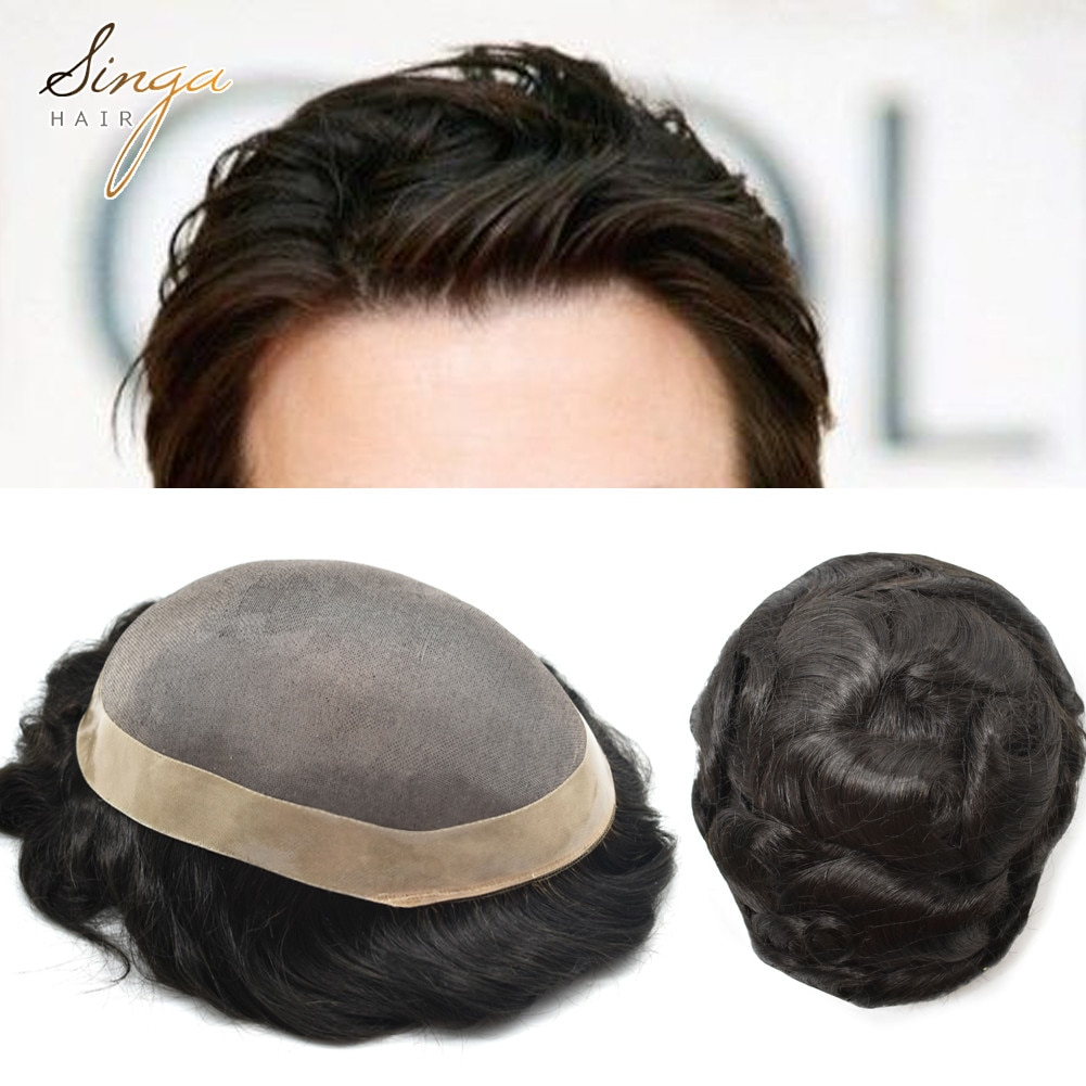 Permanent Mono Lace Short Hair System Unit D7-3 for Men, Durable Professional Real Hairpieces Manufactures Toupee Wig