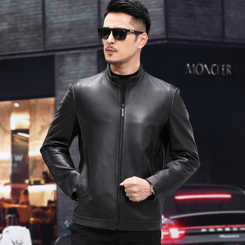 جديد 2021 جاكيت جلد الماعز الأصلي للرجال خريف أسود نوعية جيدة ملابس أصلية جلدية