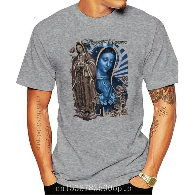 New Virgen Morena Guadalupe Virgin Mary Flower Flowers Rose Pray Quality T Shirts Men Printing Short Sleeve O Neck
