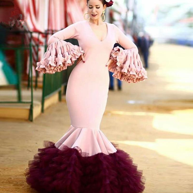 Pink Burgundy Long Prom Dress Mermaid V Neck Long sleeve Tiered  Floor Length Formal Evening Dresses Vestido Festa 2020 New frilled sleeve brush stroke grid tiered dress