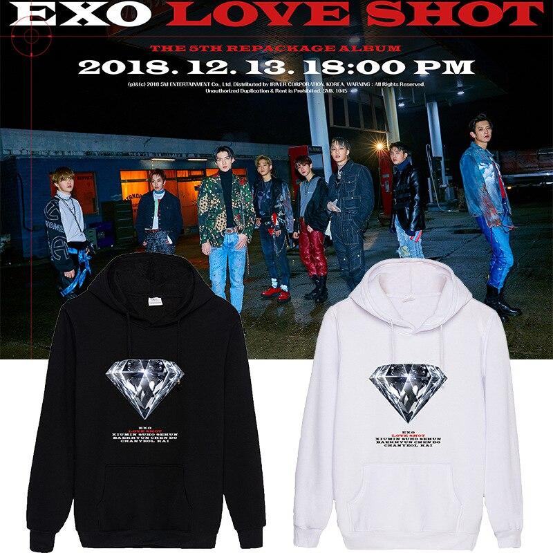kpop EXO Women loose Casual Hooded Pocket Long Sleeve Pullover Sweatshirt ladies Harajuku Hoodies winter Streetwear warm clothes