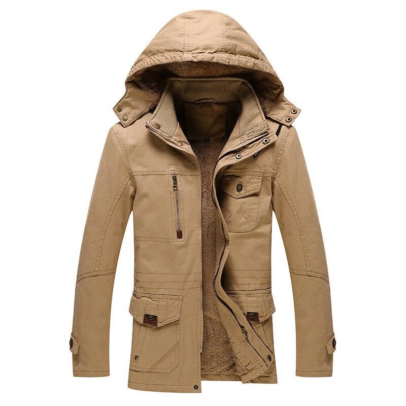 الشتاء سترة الرجال سميكة الدافئة الصوف بطانة مقنعين طوق منتصف طويلة الرجال ملابس خارجية حجم كبير سترة واقية من القطن الرجال معطف الشتاء