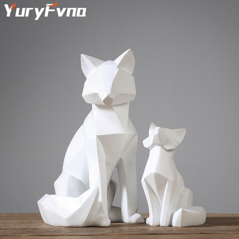 YuryFvna  Simple White Modern Abstract Sculpture Fashion Geometric Fox Statue Desktop Ornaments Creative Gift