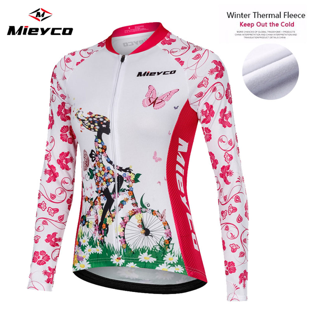 Jersey de ciclismo rosa de manga larga Pro equipo de invierno térmico de vellón ropa de bicicleta Maillot MTB ropa jersey mujer invierno