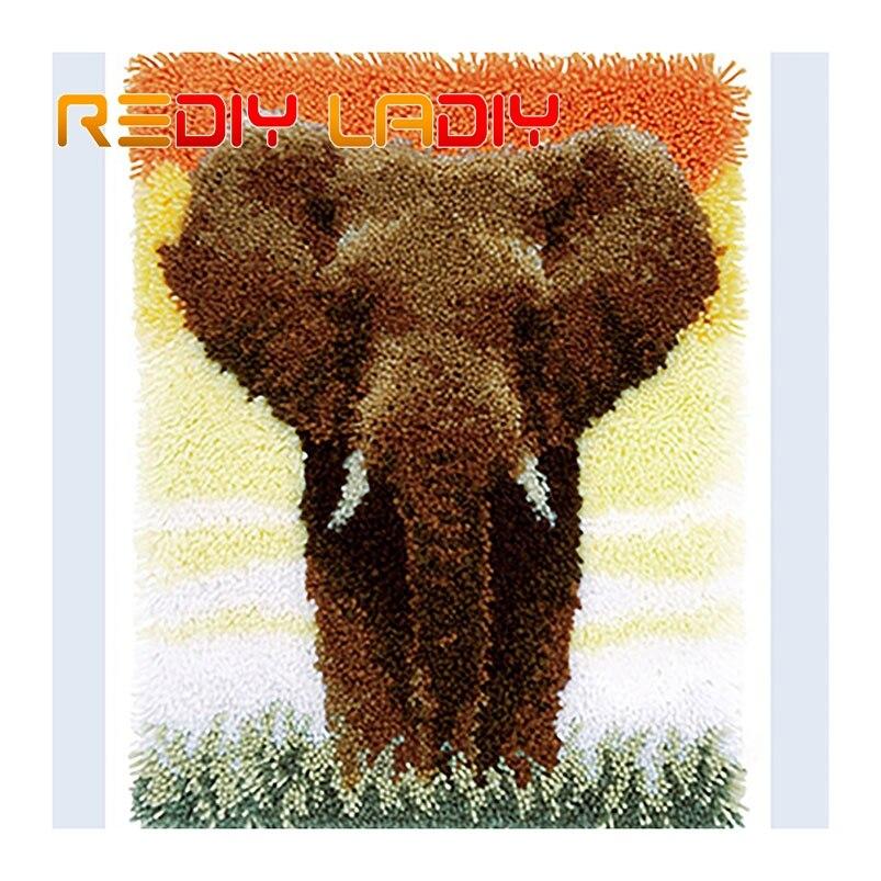 Kit de alfombra gancho de pestillo que hace tu propia alfombra elefante puesta de sol cojín de ganchillo alfombra DIY alfombra hilo acrílico impreso lienzo artes y artesanías