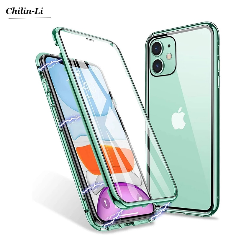 360 Magnetic Adsorption Metal Case For iPhone 12 11 Pro XS Max X XR Double-Sided Glass Case For iPho