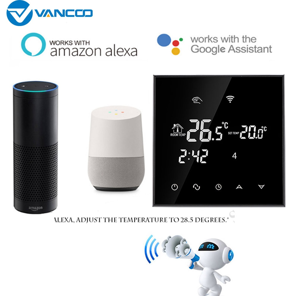Vancoo WiFi Thermostat 220V Temperature Control Electric Floor Heating Smart Home Digital Voice Comtrol by Google Home Alexa
