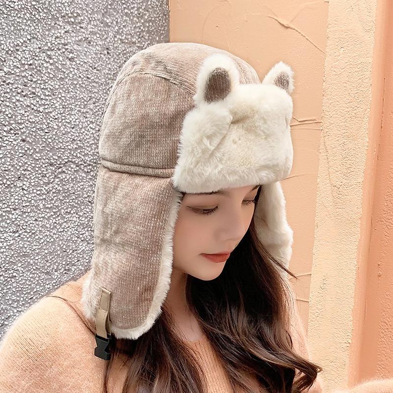 Women Winter Warm Bomber Hats Cute Ear Decor Russian Ushanka Trapper Hat For Women Earflap Snow Ski