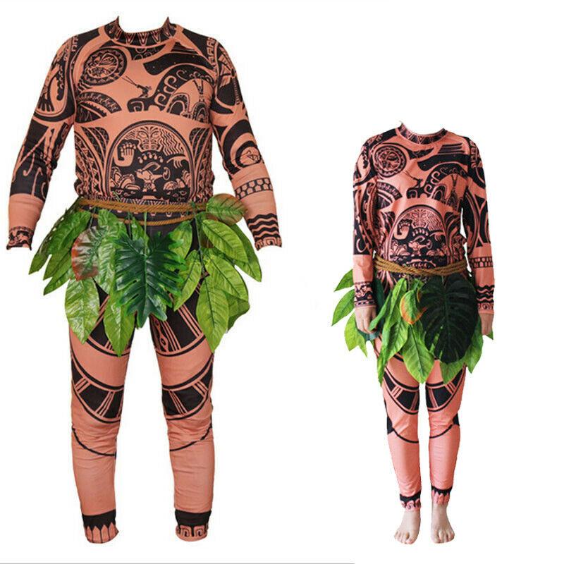 Hot Sale Family Matching 3PCS Moana Maui Tattoo T Shirt+Pants Costume Set Halloween Boys Mens Cosplay Costume Outfit Sets