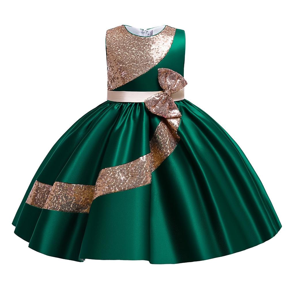 Детское платье на Новый год и Рождество, элегантное платье принцессы для девочек, детское зеленое платье с блестками для дня рождения, свадь...