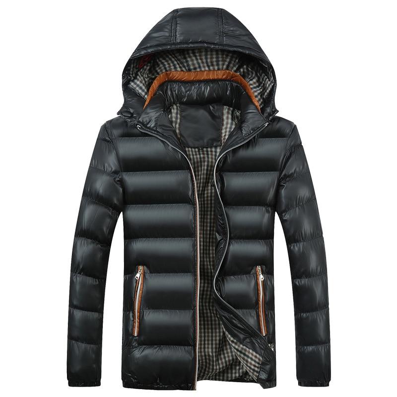 Мужской новый однотонный хлопковый костюм с капюшоном, Мужской Хлопковый костюм, мужские зимние куртки и пальто, мужские пуховики, хлопковы...