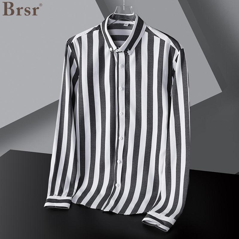 De los hombres de verano Camisa de corte Slim de manga larga...