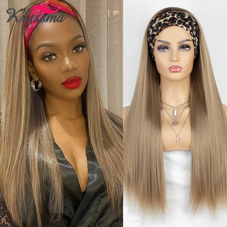 Kryssma Honey Blonde Headband Wig Long Straight Synthetic Wigs with Dark Roots Ash Brown Ombre Headband Wigs for Women Scarf