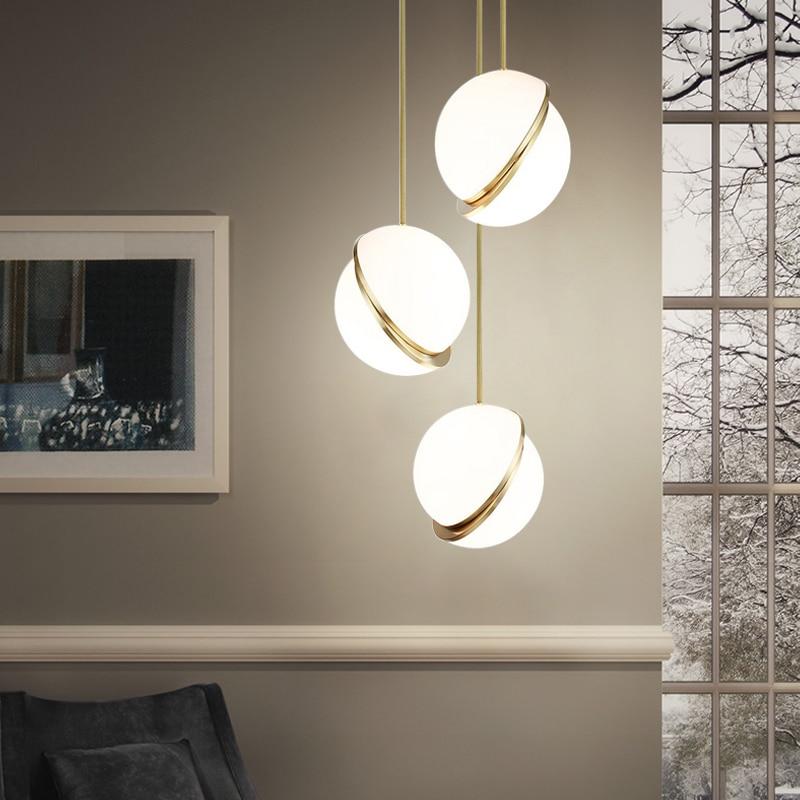 Lámpara colgante de mesilla de noche para dormitorio, lámpara colgante de bola redonda moderna para restaurante, sala de estar, cafetería, Pub, lámpara colgante para decoración del hogar