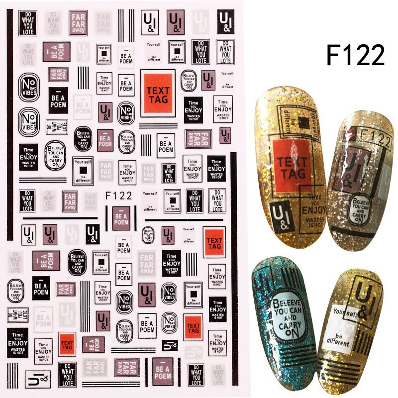 3D Letter Design Nail Stickers Water Transfer Paper Slider Nail Art Decoration English Alphanumeric Nail Tattoo Manicure Decals