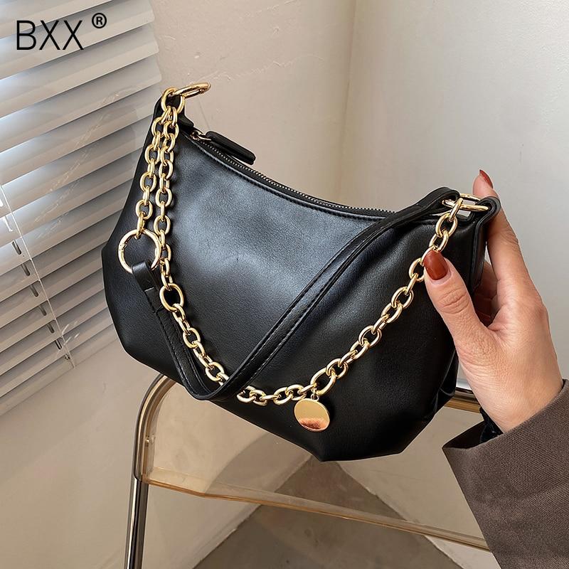 [BXX] PU Leather Chain Crossbody Bag 2021 Spring Fashion New High Quality Lady Travel Luxury Shoulder Handbag and Purses HQ811