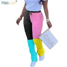 HAOYUAN taille haute empilé Leggings pantalons de survêtement femmes Joggers 2020 nouveau élastique décontracté cloche bas pantalon mignon froncé Flare pantalon