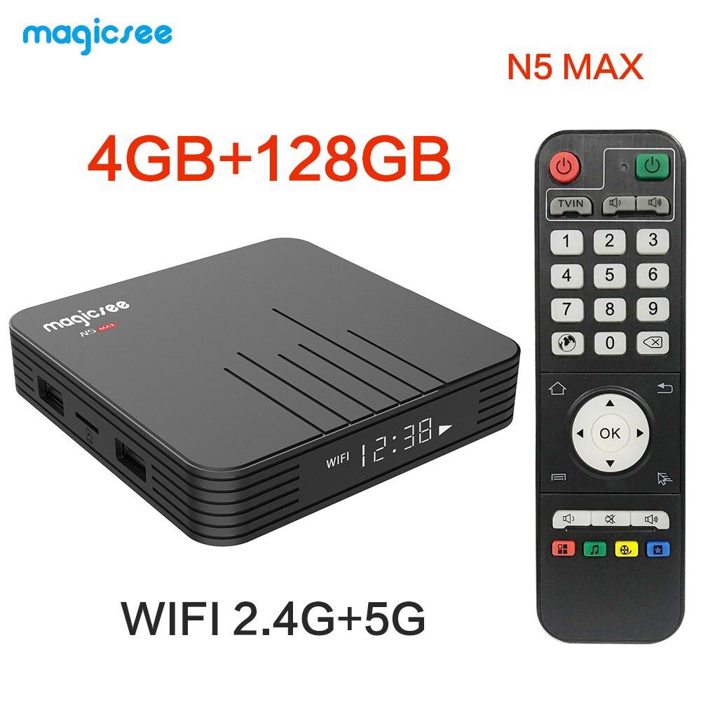 Magicsee n5 smart android 9.0 caixa de tv s905x3 4g 32g/64g/128g rom 2.4g + 5g wifi bluetooth 4.0 conjunto caixa superior 4 k h.265 hd media player