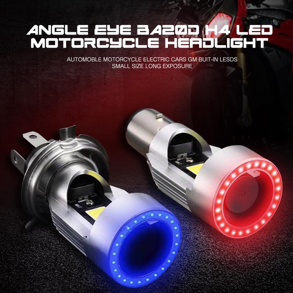 f4 motorcycle electric vehicle led bulb h4 far near integration h6 super bright hs1 refitting ba20d double claw three claw 1Pc Angel eye 30W H4 LED Motorcycle Headlight Ba20d HS1 H6 Scooter Motorbike Headlamp Light Bulb DRL Accessories 12V-80V