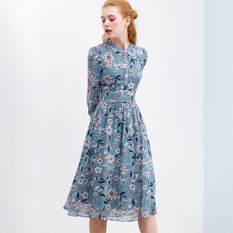ITOOLIN kobiety szyfon w kwiaty sukienka z nadrukiem zapinana na guziki A-line sukienka dla kobiet 2020 wiosna eleganckie sukienki z wysokim stanem