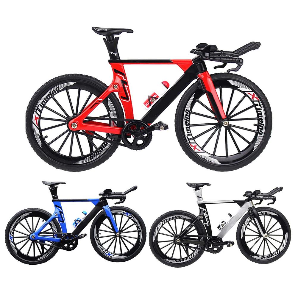 Mini 1:10 Model Alloy Bicycle Toy Diecast Metal Finger Mountain Bike Racing Toy Bend Road Simulation Collection Toys For Kids mini vintage metal toy motorcycle toys hot wheel safe cool diecast blue yellow red motorcycle model toys for kids collection