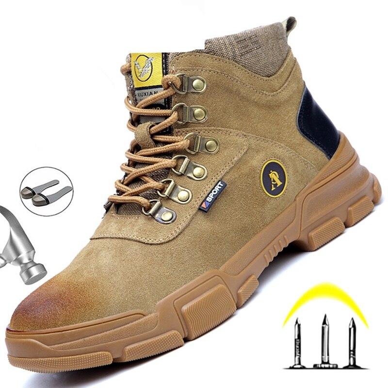 أحذية أمان الرجال حذاء برقبة للعمل مكافحة طعنة أحذية عمل الرجال الصلب حذاء مزود بفتحة للأصابع غير قابل للتدمير الذكور الأحذية الصناعية واقي...
