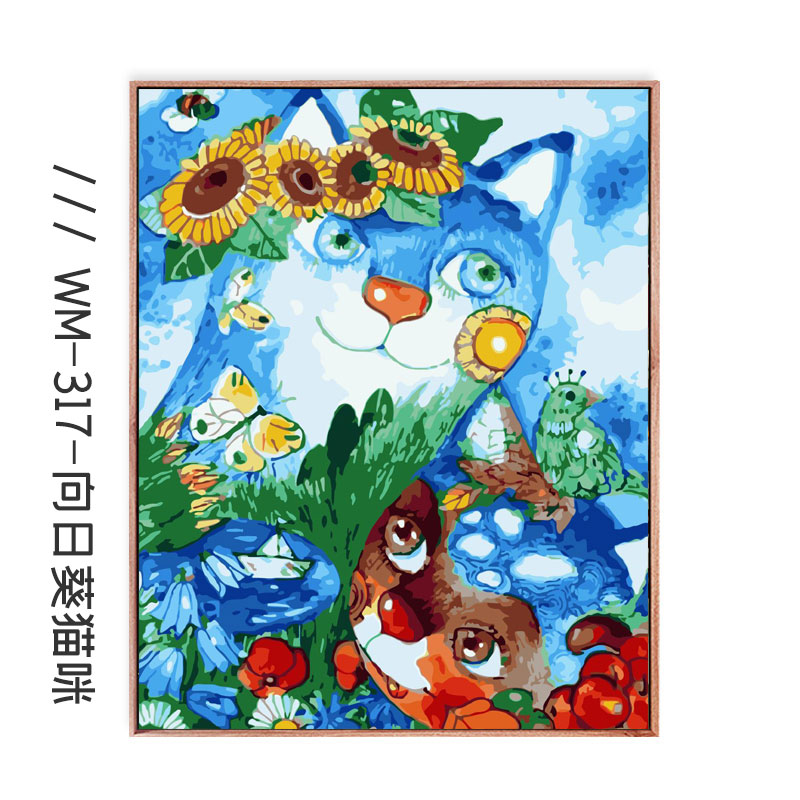 Digital Oil Painting DIY Sunflower Filling Living Room Simple Color Painting Decompression Manual Self Painting Decorative  - buy with discount