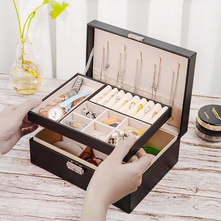 Large Jewelry Box Women Leather Packaging Necklace Rings Watch Bracelet Storage Organizer Display Gift Boxes Case luxury organizer black leather square pocket watch box foam pad inside watches gift boxes for men womens watch jewelry storage