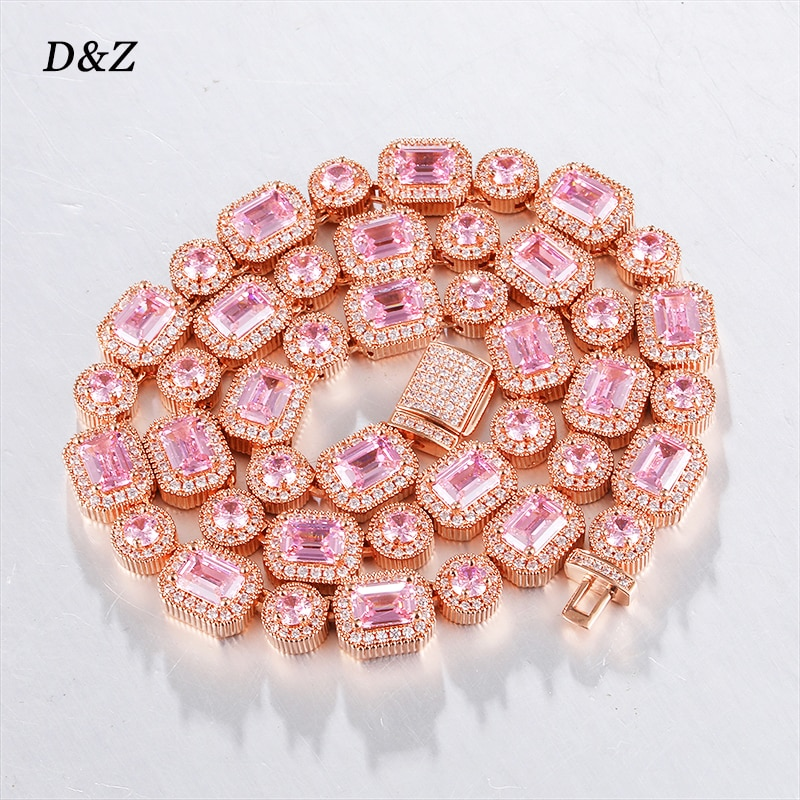 Promo D&Z New 9mm Iced Out CZ Stones Tennis Chain & Necklace Box Buckle Rose Gold 3 Colors Female Jewelry Necklace For Birthday Gift