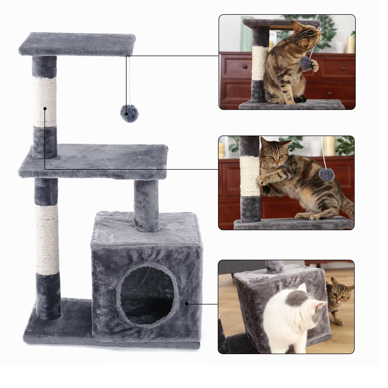 Árboles de gato para gatitos, muebles de gato, torres con postes de rascado, doble percha, casa, gatito, árboles de actividades para escalar