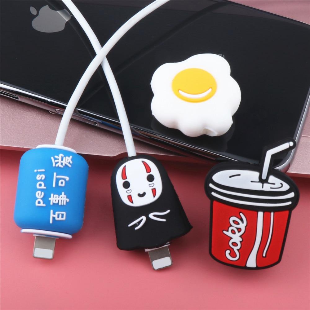 Kawaii Protector cargador de Cable lindo Organizador Animal Protector de Cable USB...