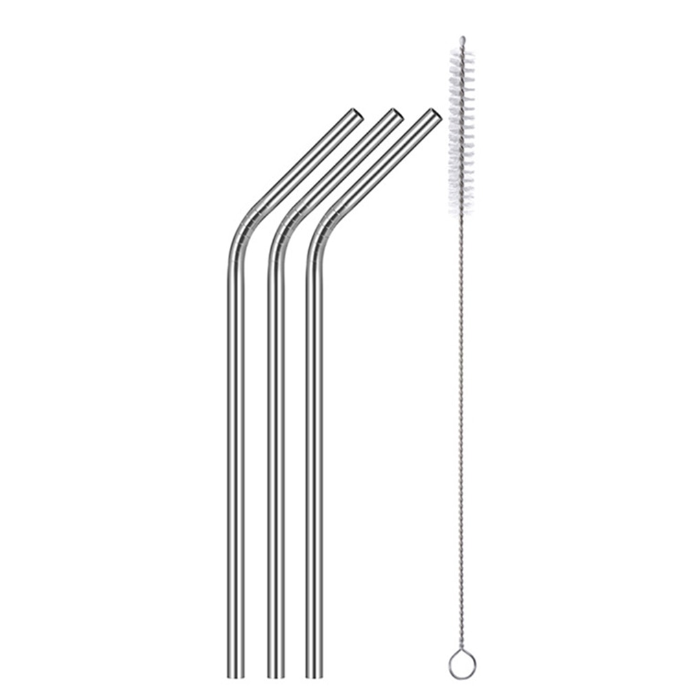 Reusable 304 Stainless Steel Curved Drinking Straw Cleaning Brush Party Supplies Festival Tableware