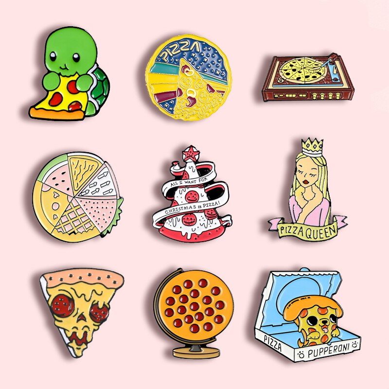 Crazy kung fu pizza festa de metal esmalte broche pizza bruxa saltos ufo esqueleto emblema pino charme na moda jóias acessórios presente