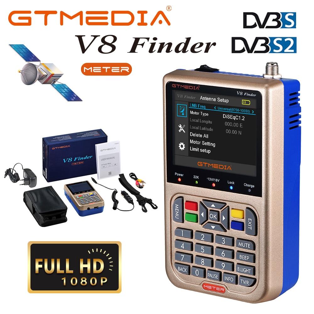 مكتشف الأقمار الصناعية GTMEDIA V8 DVB-S2/S2X مكتشف الأقمار الصناعية H.265 DVB S2 مكتشف Satelite متر كاشف كامل 1080P FTA Sat مكتشف