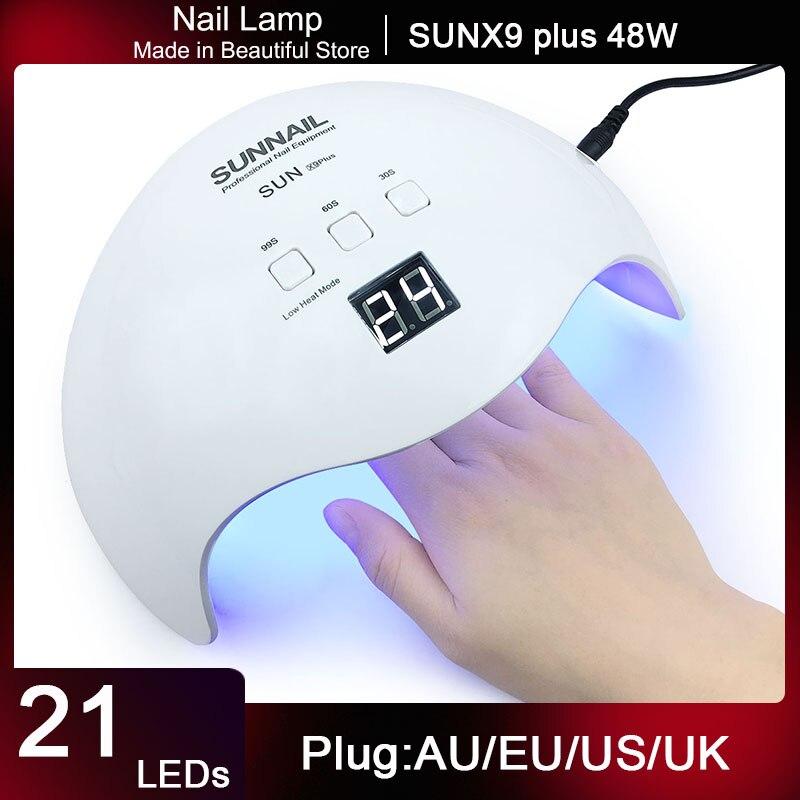 Бренд 48 Вт лампа для ногтей SUNX9 Сушилка для ногтей Светодиодный УФ лампа светодиодный светильник для льда УФ фототерапия машина для всех гел...