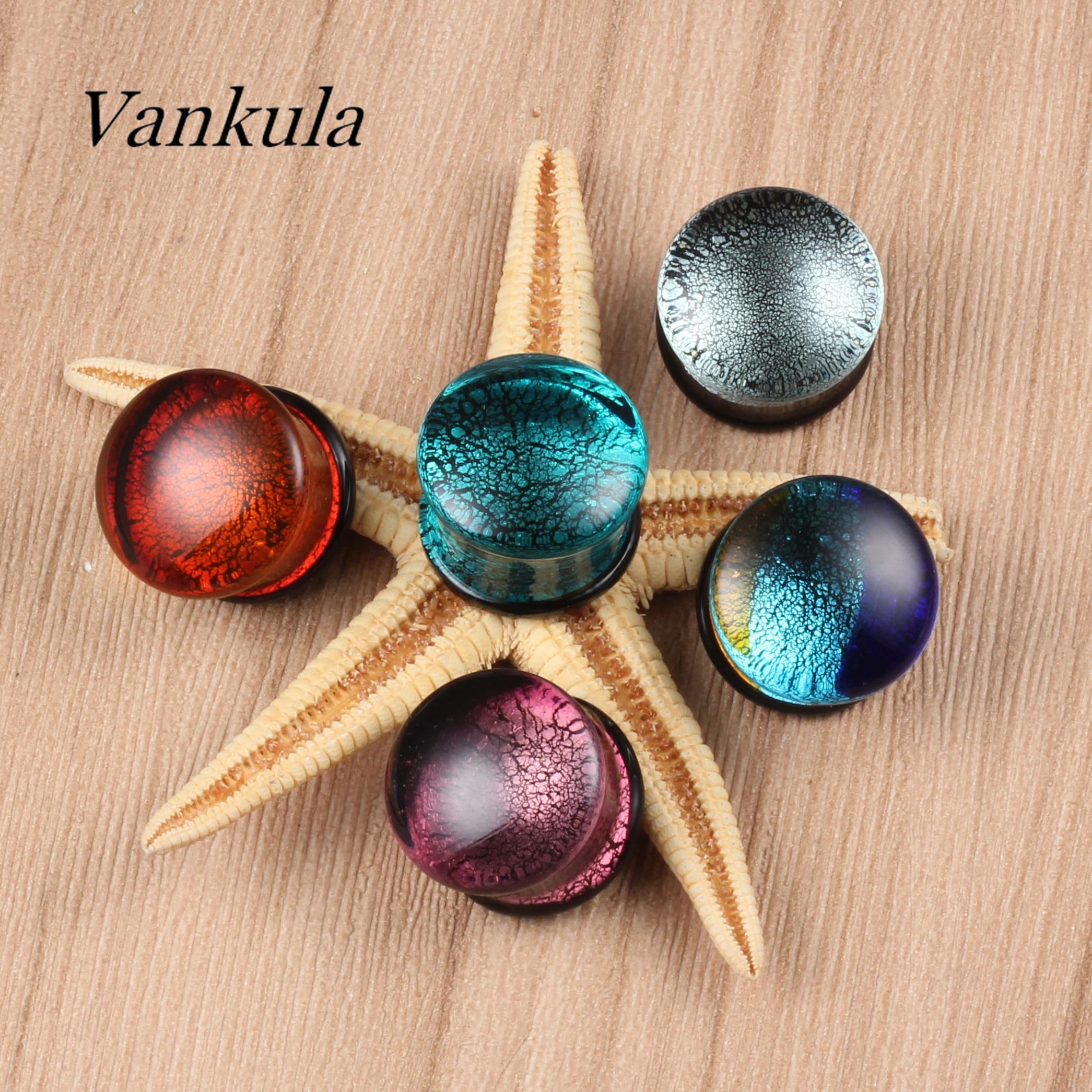 Vankula 2 uds tapones calibradores de oreja de vidrio expansor de Piercing corporal pendientes a la moda