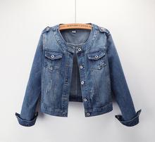 Nouvelle qualité 2019 nouvelle veste femme col rond décontracté court manteau grande taille denim veste femmes étudiants