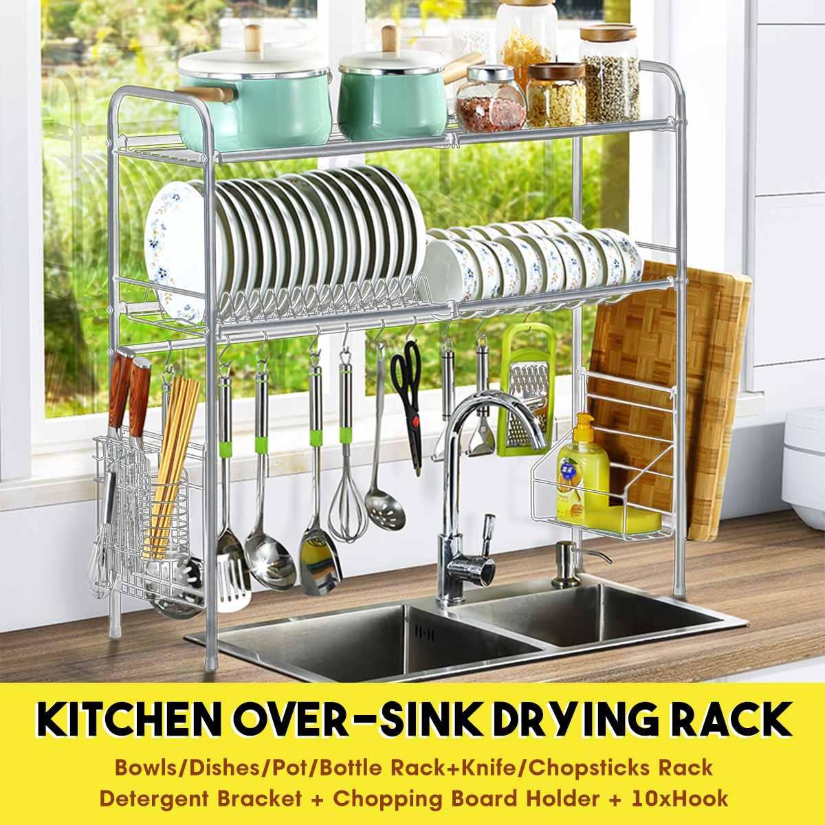 Single/Double Tier Over The Sink Dish Drying Rack Holder Shelf Drainer Storage Organizer Kitchen 65cm/85cm