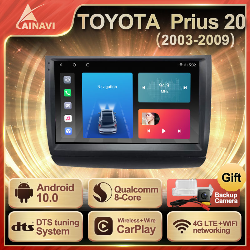 Car Radio Android 10.0 QLED Screen For Toyota Prius 20 2003-2009 Auto Stereo Multimedia Video Player Navigation Carplay No 2din