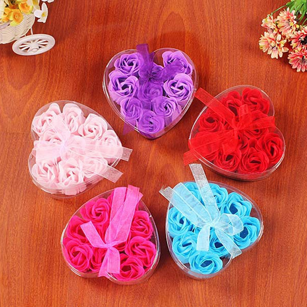 Practical 9pcs Heart Scented Bath Body Petal Rose Flower Soap Wedding Decoration Gift Favor Gifts For Luxurious Bath