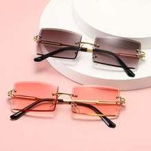 2020 Retro Sunglasses Women Brand Designer Fashion Rimless Gradient Sun Glasses Shades Cutting Lens